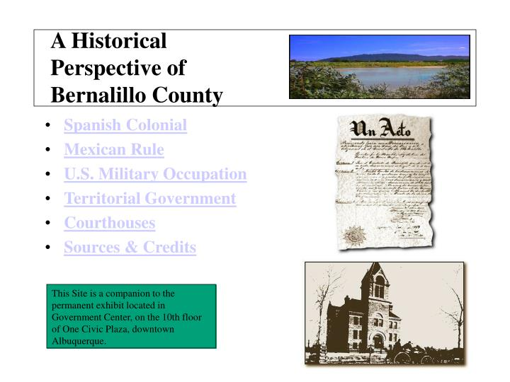 a historical perspective of bernalillo county n.