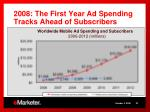 2008 the first year ad spending tracks ahead of subscribers