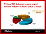 71 of us internet users watch online videos at least once a week
