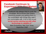 facebook continues to experiment with viral marketing