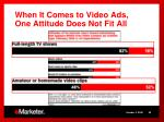 when it comes to video ads one attitude does not fit all