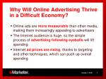 why will online advertising thrive in a difficult economy