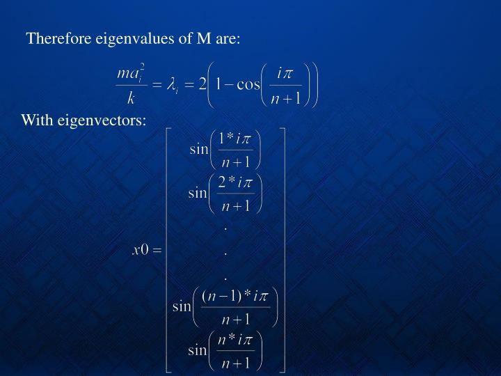 Therefore eigenvalues of M are:
