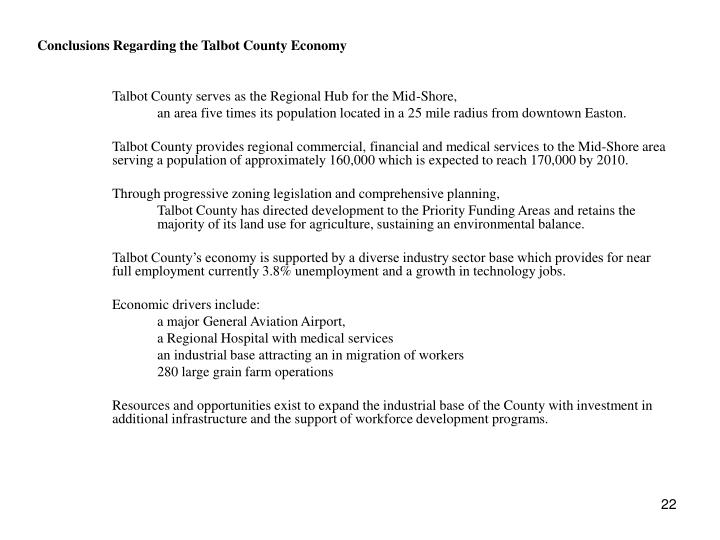 Conclusions Regarding the Talbot County Economy