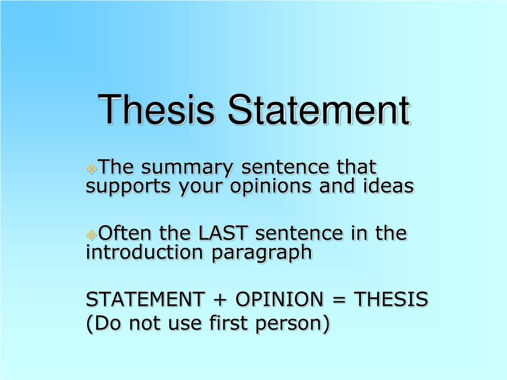 PPT - Thesis Statement PowerPoint Presentation - ID:3843979