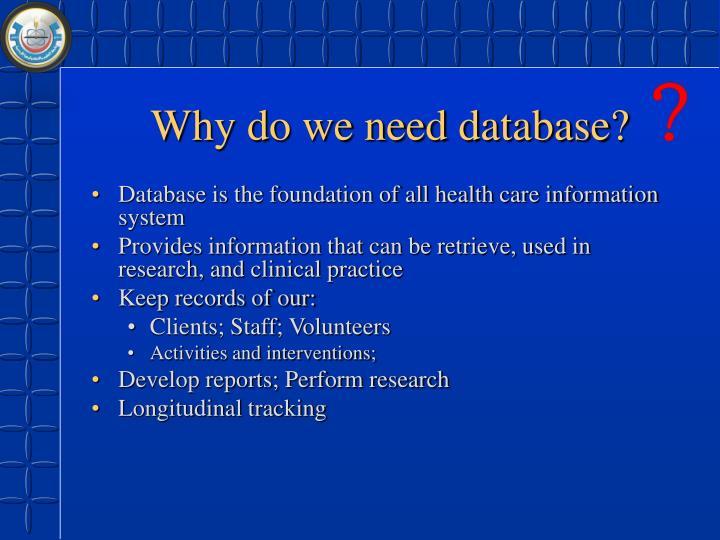 Why do we need database?