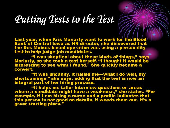 Putting Tests to the Test