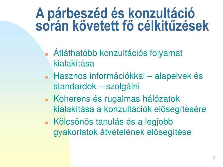 A párbeszéd és konzultáció során követett fő célkitűzések