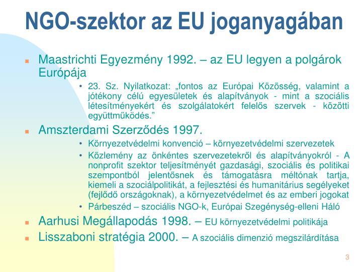Ngo szektor az eu joganyag ban