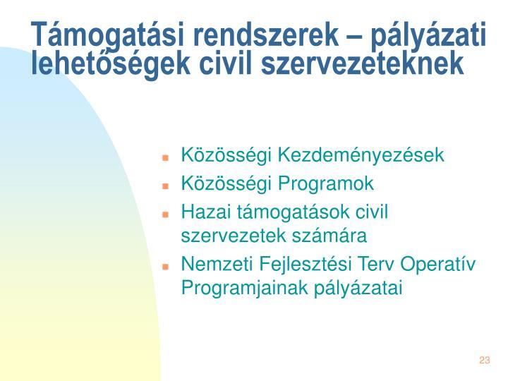 Támogatási rendszerek – pályázati lehetőségek civil szervezeteknek