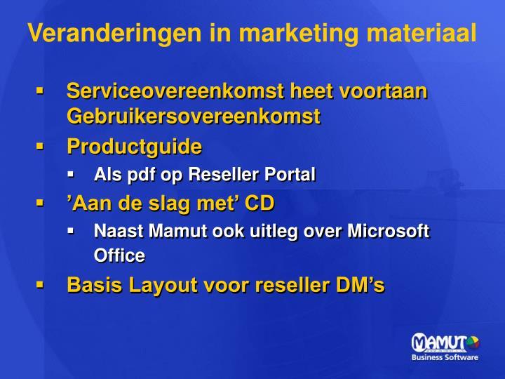 Veranderingen in marketing materiaal