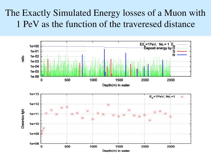 The Exactly Simulated Energy losses of a Muon with 1 PeV as the function of the traveresed distance