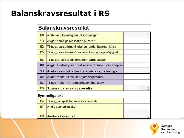 Balanskravsresultat i RS