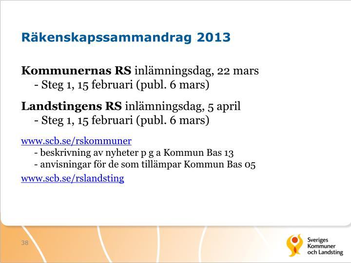Räkenskapssammandrag 2013