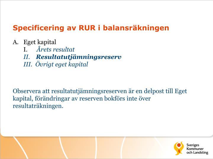 Specificering av RUR i balansräkningen