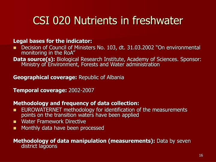 CSI 020 Nutrients in freshwater