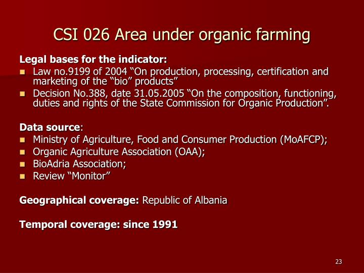 CSI 026 Area under organic farming