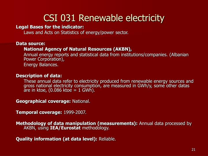CSI 031 Renewable electricity