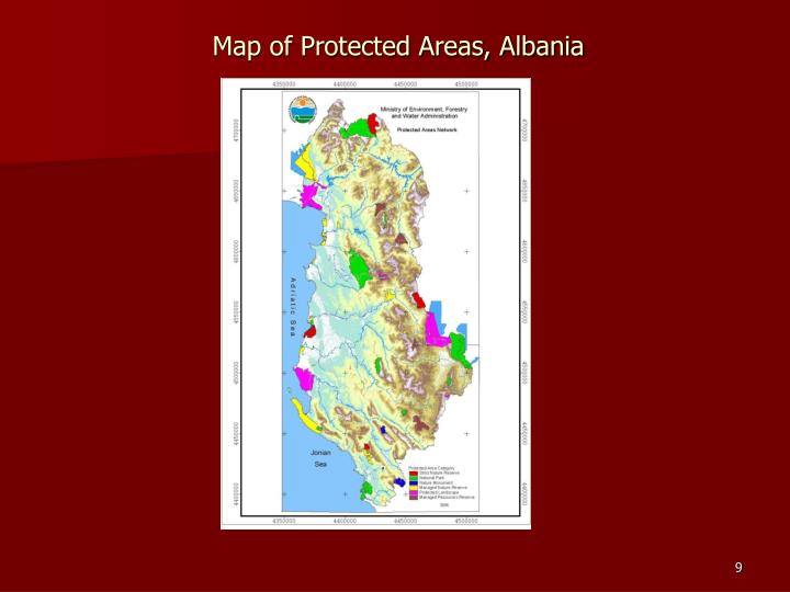 Map of Protected Areas, Albania