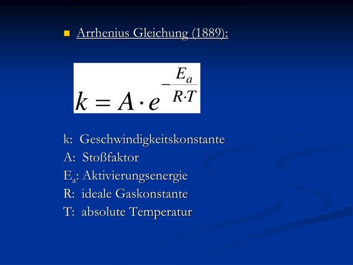 Arrhenius Gleichung (1889):