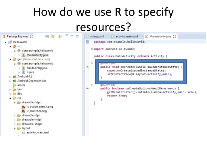 How do we use R to specify resources?