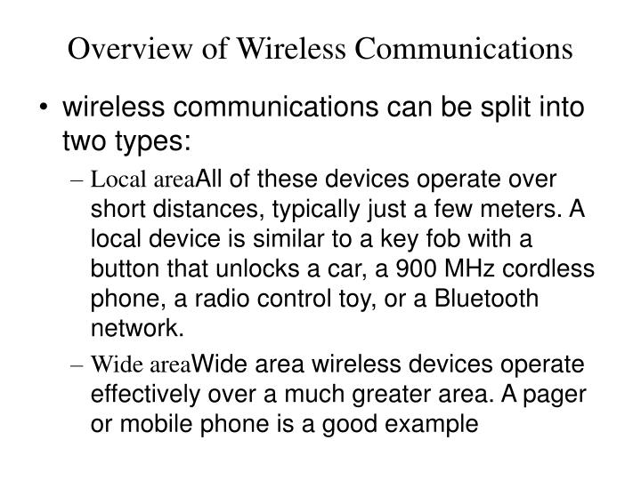 Overview of wireless communications