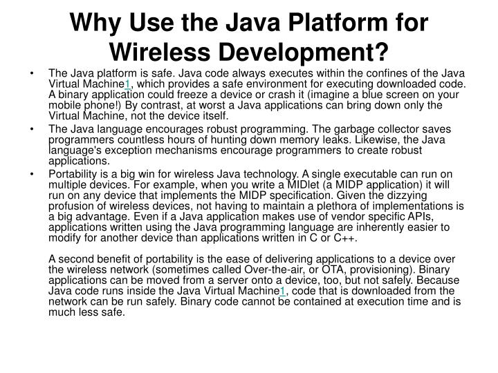 Why Use the Java Platform for Wireless Development?