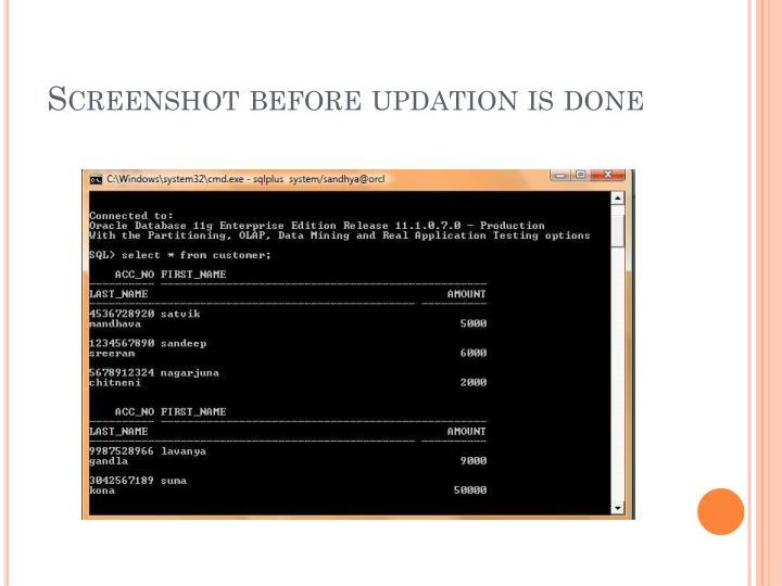 Screenshot before