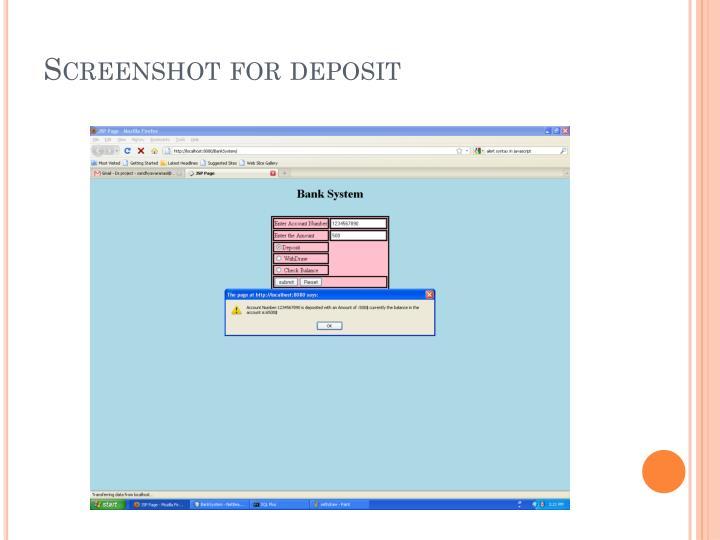 Screenshot for deposit