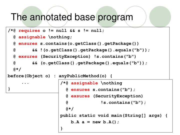 The annotated base program