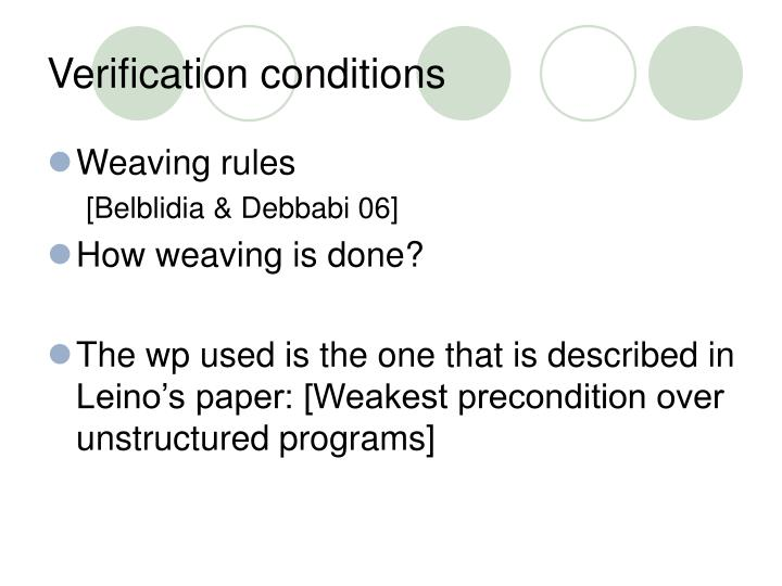 Verification conditions