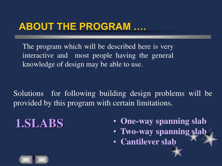 ABOUT THE PROGRAM ….