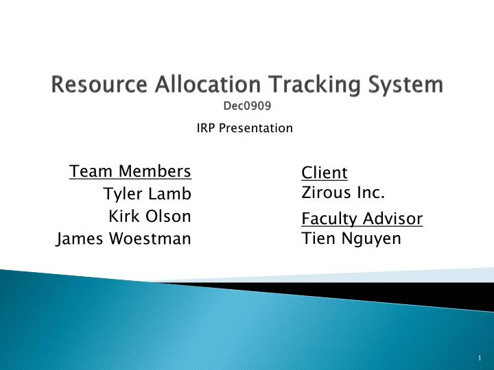 resource allocation tracking system dec0909 n.