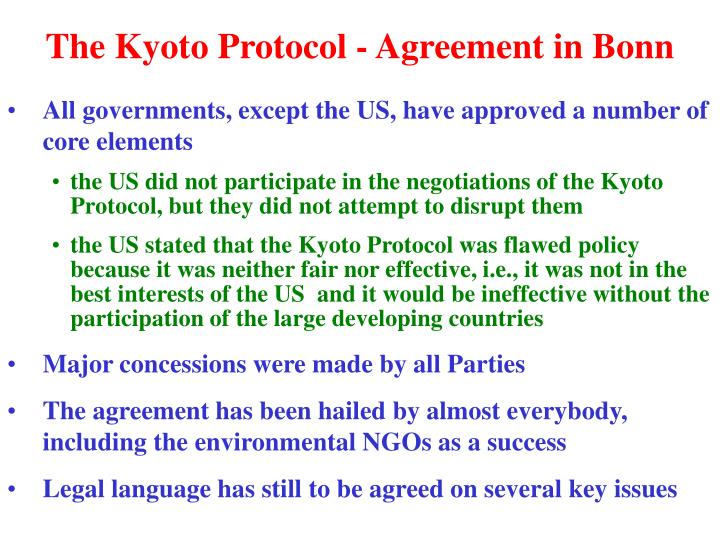 The kyoto protocol agreement in bonn