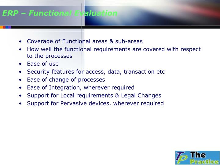 ERP – Functional Evaluation