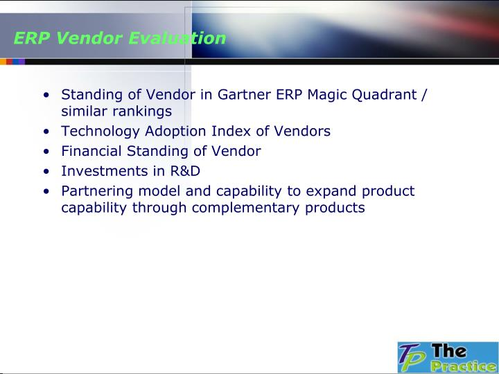 ERP Vendor Evaluation