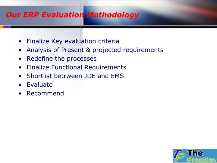 Our ERP Evaluation Methodology
