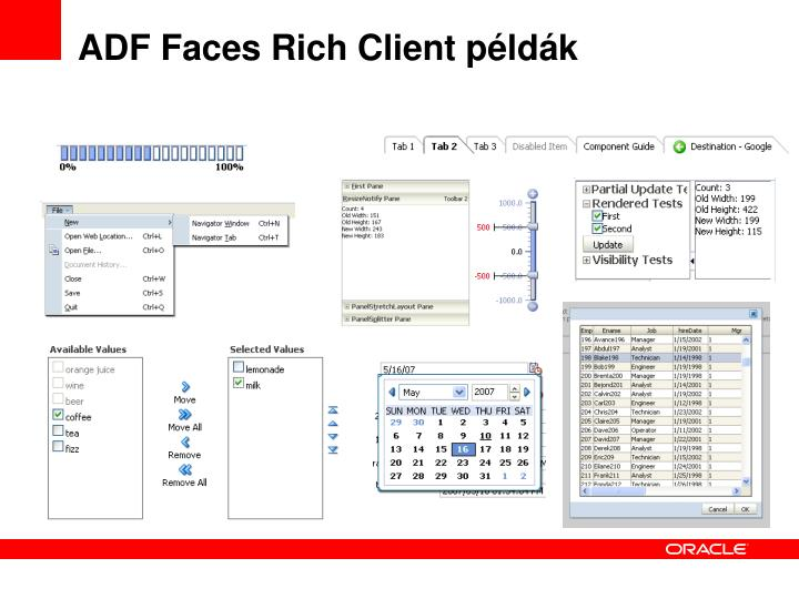 ADF Faces Rich Client példák