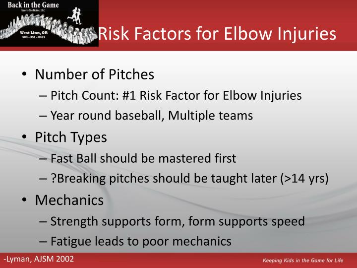 Risk Factors for Elbow Injuries
