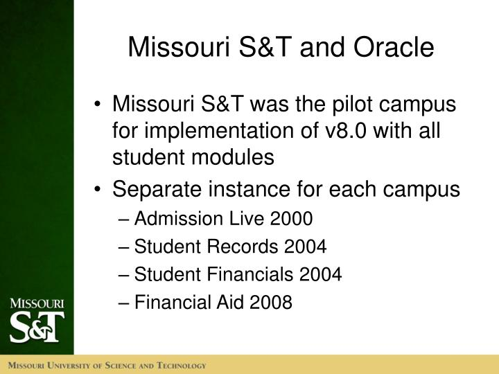 Missouri S&T and Oracle