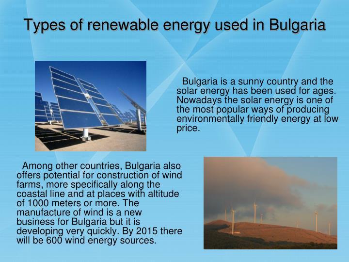 Types of renewable energy used in bulgaria