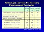 adults aged 65 years not receiving pneumococcal vaccination