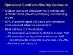 operational conditions affecting vaccination