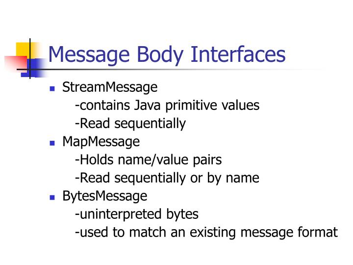 Message Body Interfaces