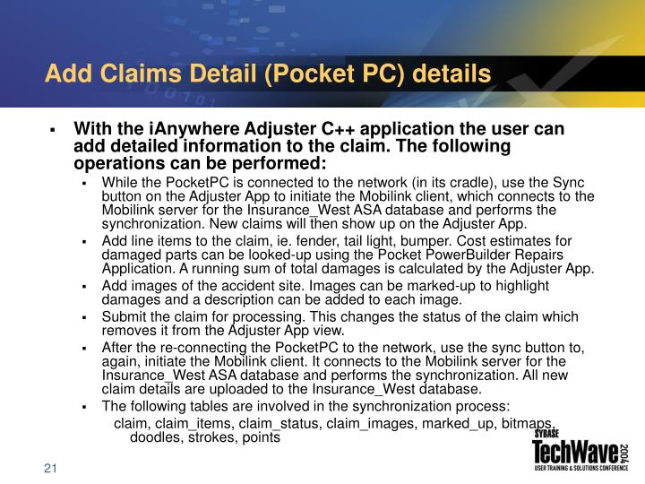 Add Claims Detail (Pocket PC) details