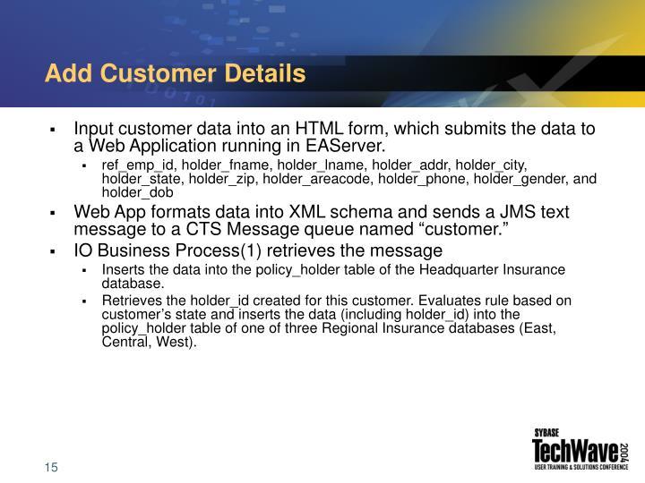 Add Customer Details
