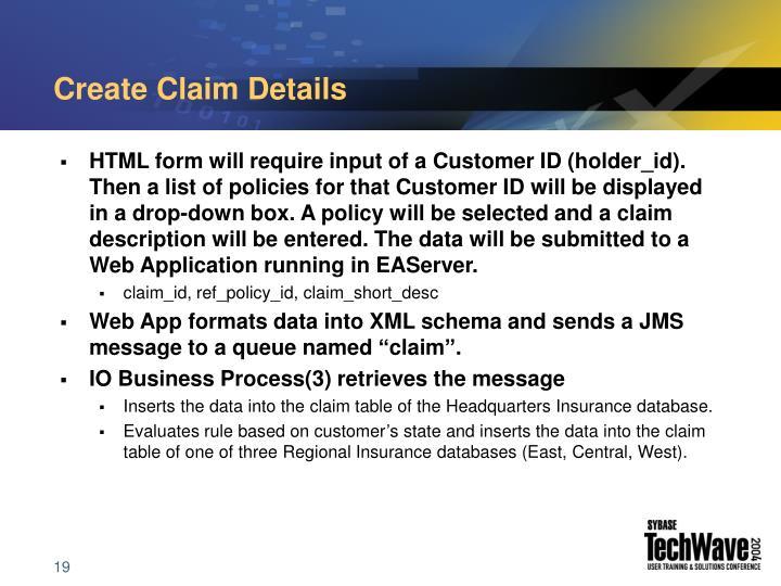 Create Claim Details