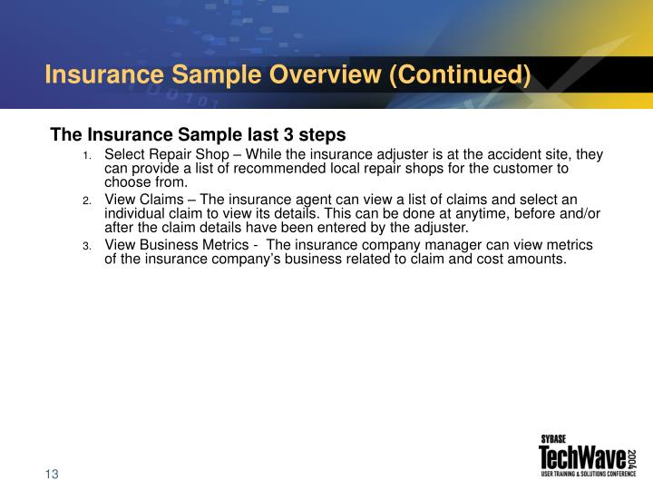 Insurance Sample Overview (Continued)