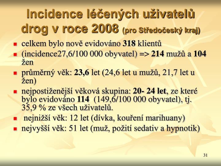 Incidence léčených uživatelů drog v roce 2008