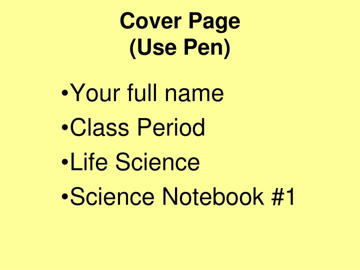 Cover page use pen